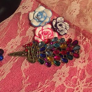 Multi colored jeweled hair clip.